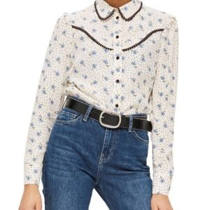 Topshop Rodeo Floral Retro Weastern top NWT 8